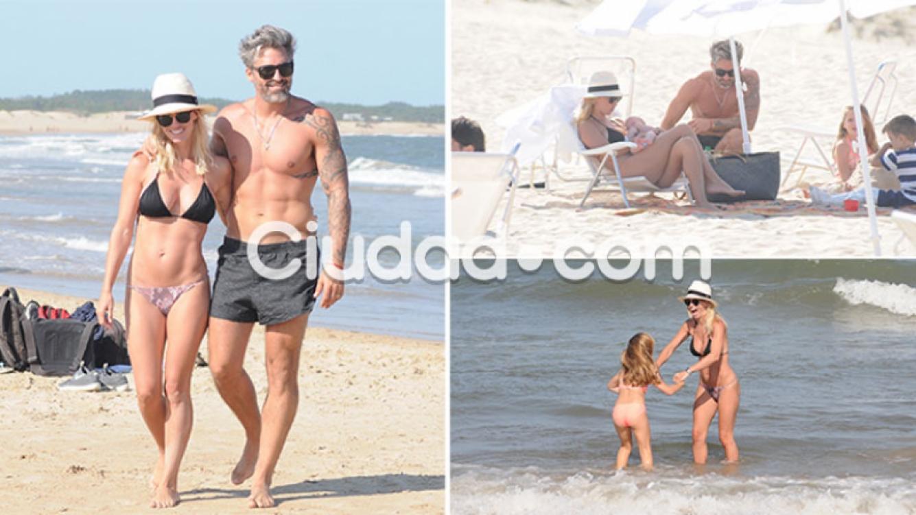 Rocío Guirao Diaz y Nicolás Paladini, con sus hijos en Punta del Este (Foto: GM Press)
