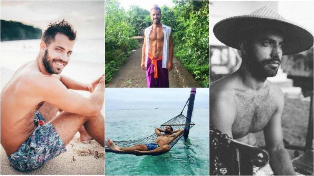 ¡Paisajes paradisíacos y cuerpazo! El exótico álbum de fotos de Benjamín Alfonso en Indonesia