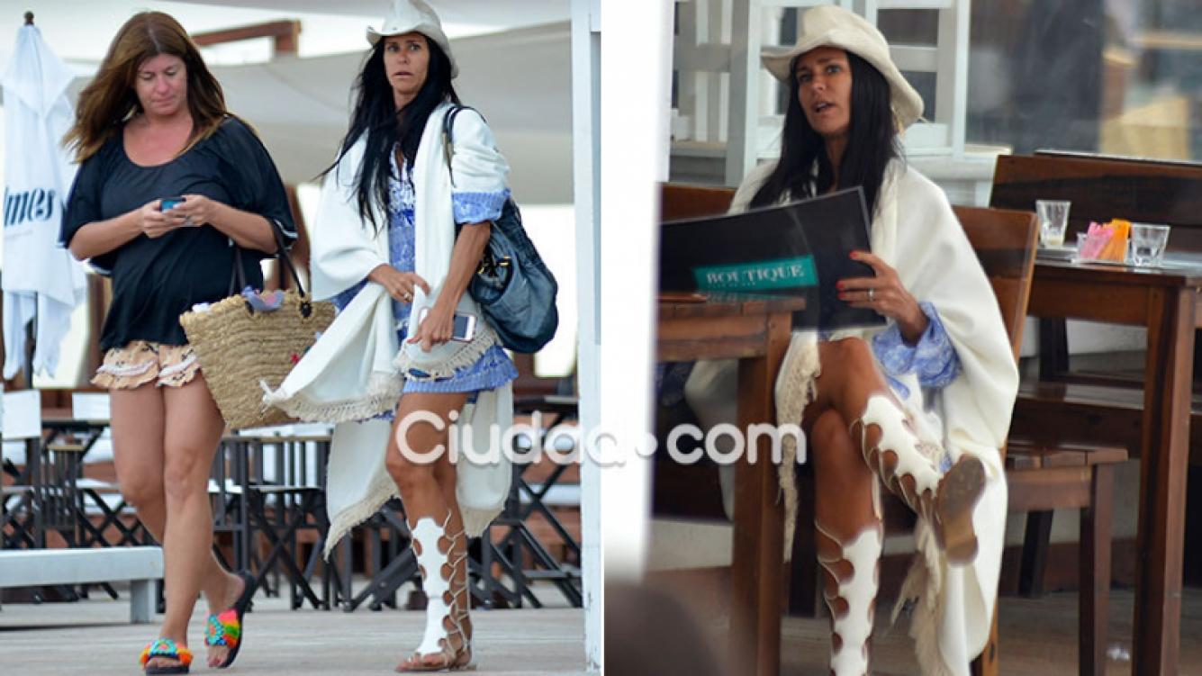 Carolina Baldini y su extravagante look en Punta. (Fotos: GM Press)