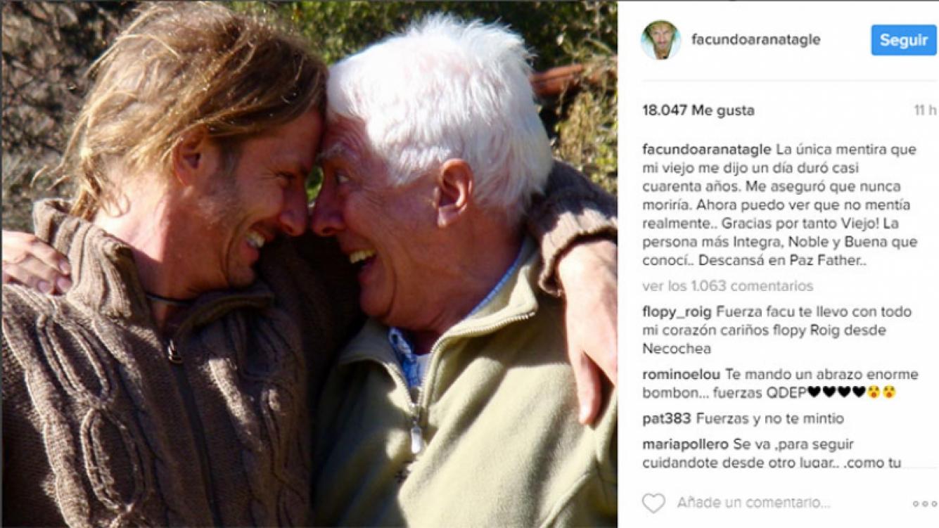 "Conmovedor mensaje de Facundo Arana por la muerte de su papá: ""¡Gracias por tanto, viejo!"""