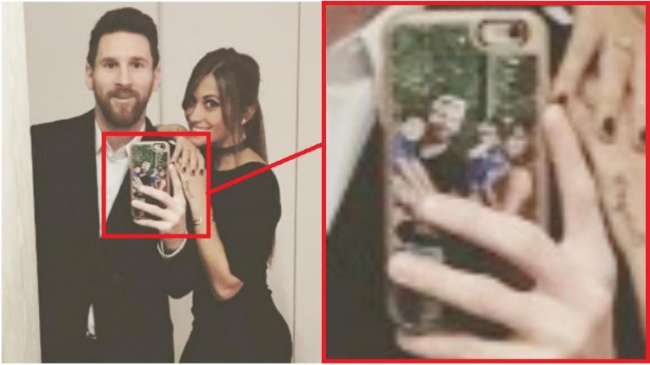 La tierna imagen que Leo Messi tiene en la funda de su celular (Fotos: Instagram)