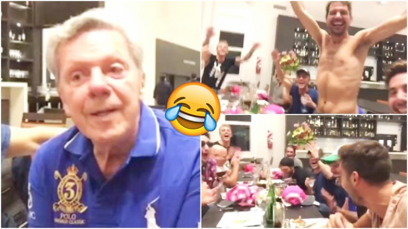 El divertida reacción de Pedro Alfonso y el elenco de Abradacabra al escuchar el remate de un chiste de Emilio Disi (Fotos: Captura)