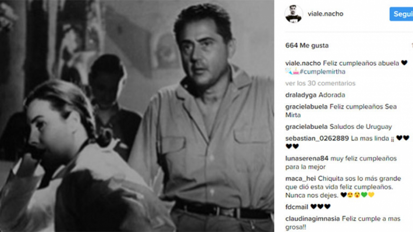 El saludo de Nacho Viale a Mirtha por sus 90 años. Foto: Instagram.