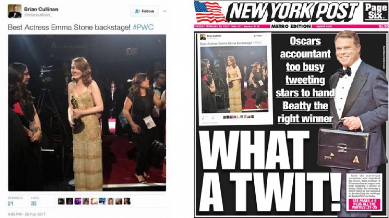 Brian Cullinan twitteó una foto de Emma Stone con su oscar a Mejor Actriz, segundos antes de darle el sobre equivocado a Warren Beatty.
