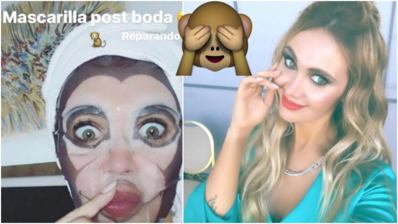 La divertida mascarilla de Melina Pitra para cuidar su piel (Fotos: Instagram Stories e Instagram)