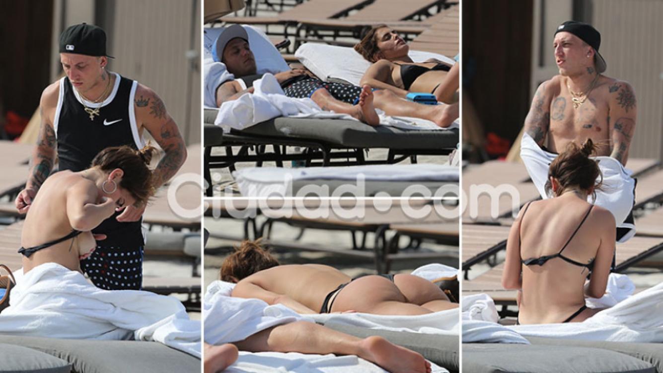 ¡Lomazos al sol! El Polaco y Silvina Luna, relax total en las playas de Miami… y un inesperado blooper hot. (Foto: Grosby Group)