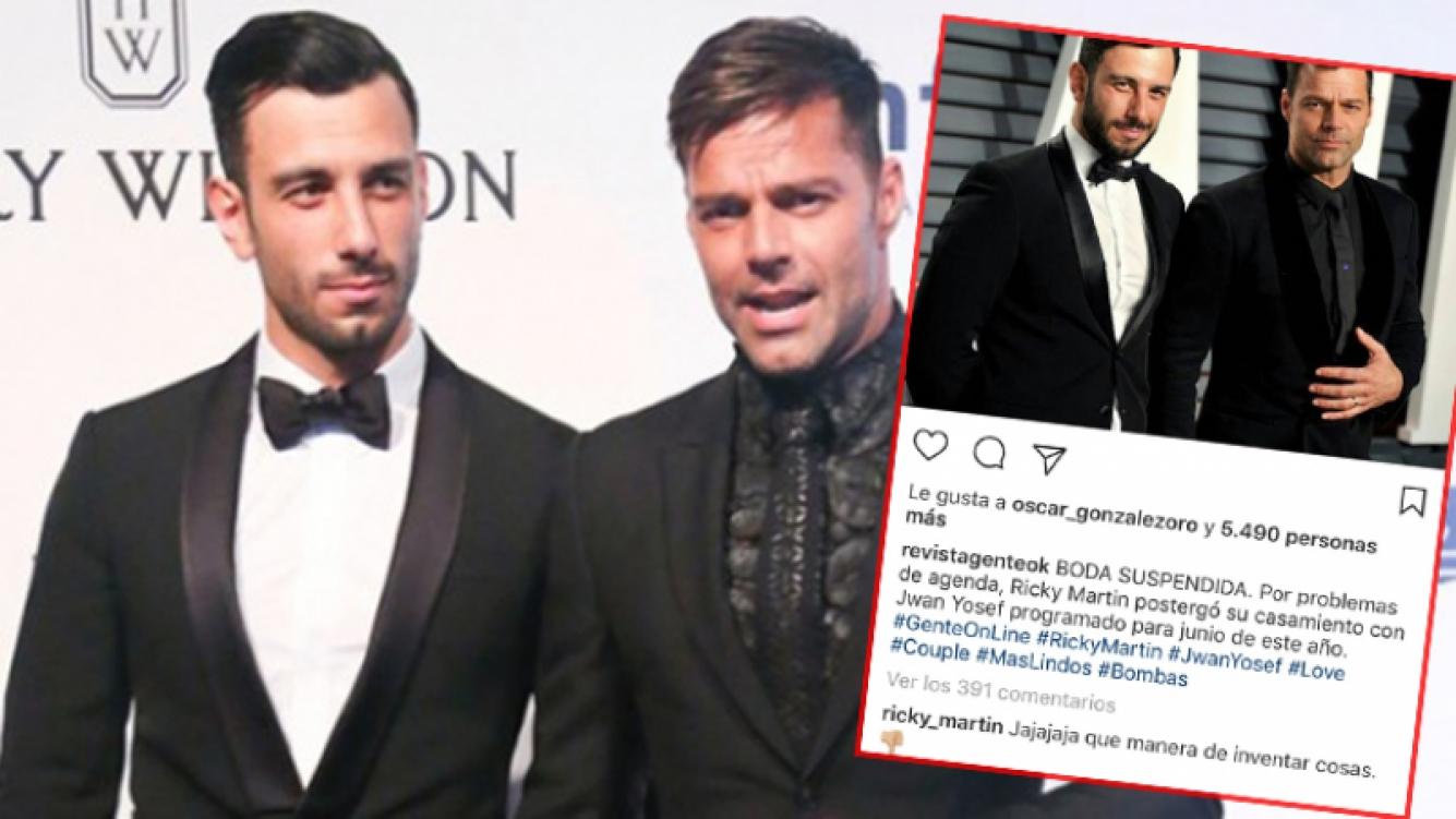 Ricky Martin desmintió la cancelación de una boda que nunca anunció con fecha, dejando un comentario en un posteo de la revista Gente en Instagram.