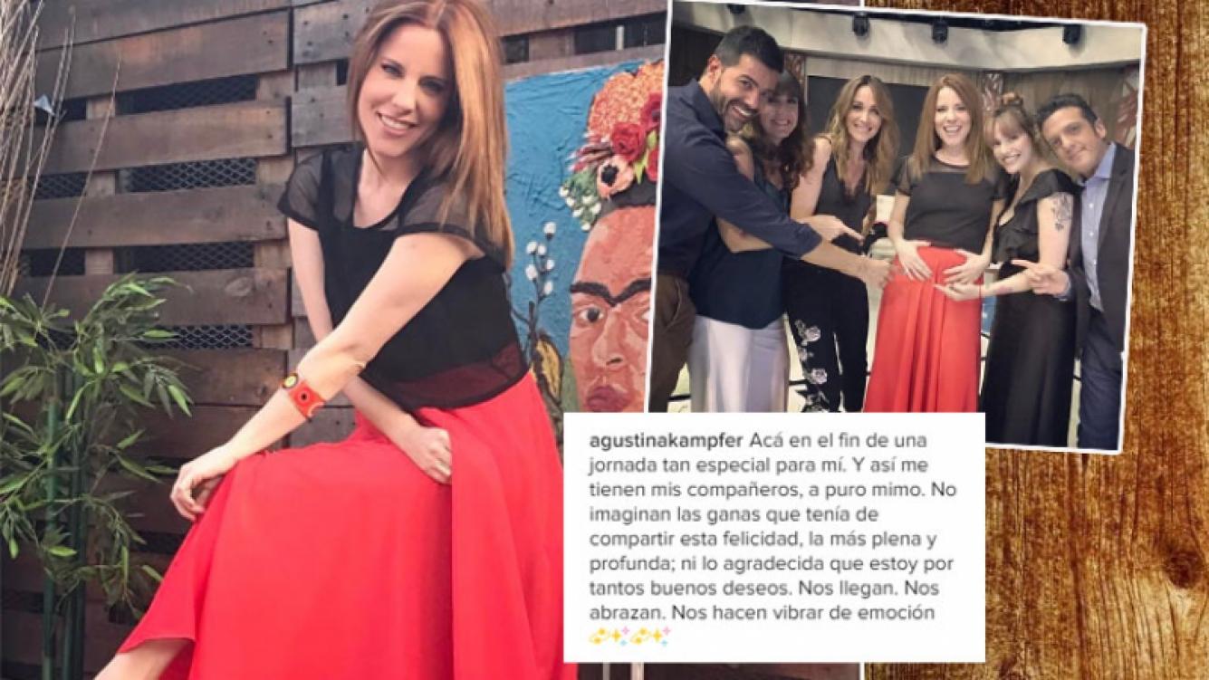 La foto de Agustina Kämpfer, tocándose la pancita tras confirmar el embarazo (Foto: Instagram)