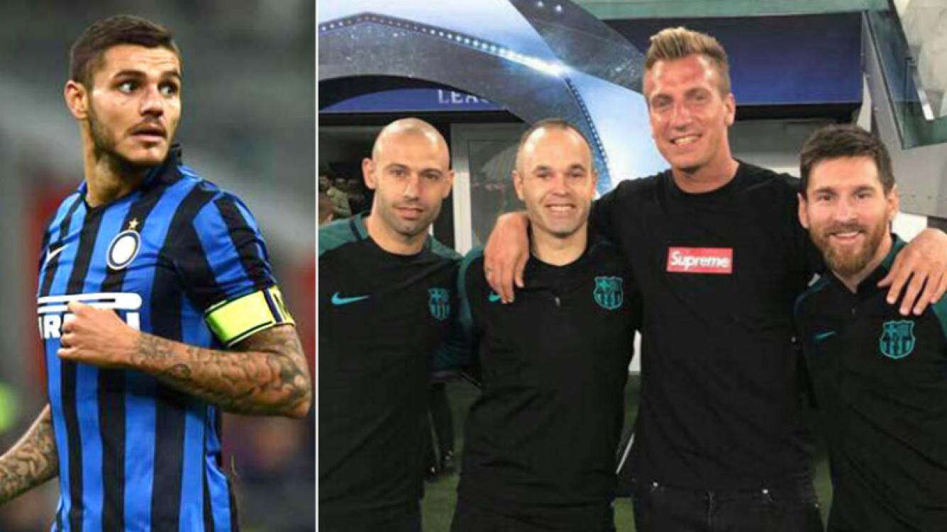 ¿Para Icardi que lo mira por las redes? Maxi López posó sonriente junto a Lionel Messi, Javier Mascherano e Iniesta