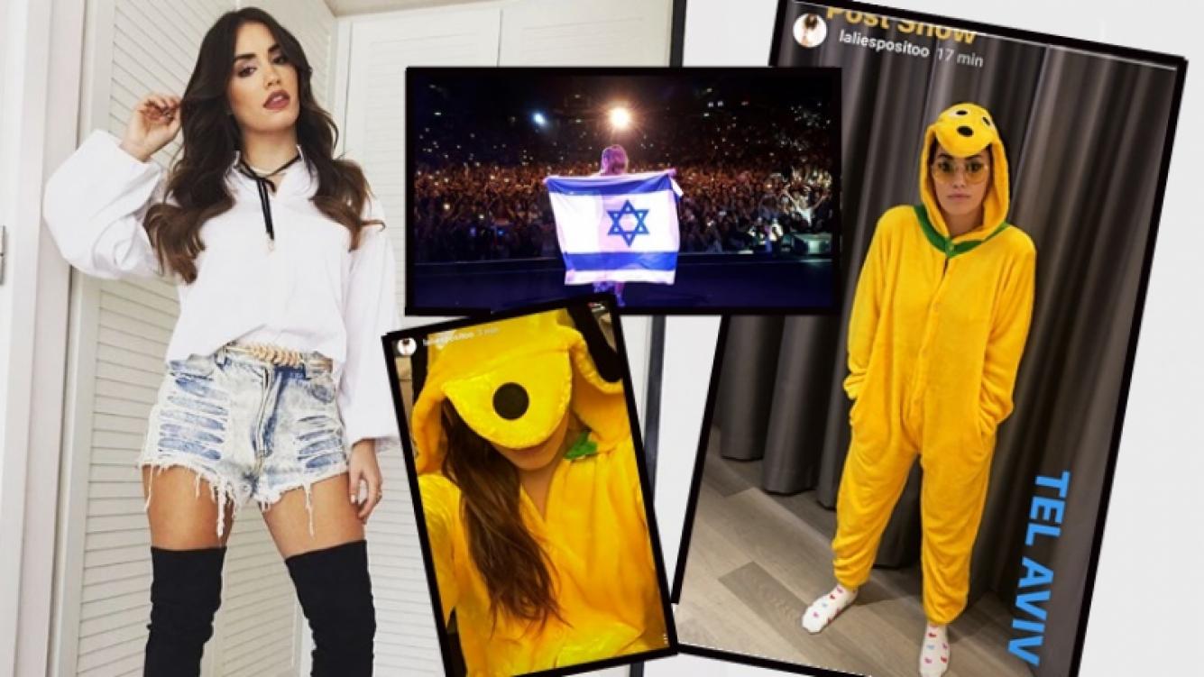 El divertido pijama de Lali Espósito durante su gira por Isarael (Foto: Instagram Stories)