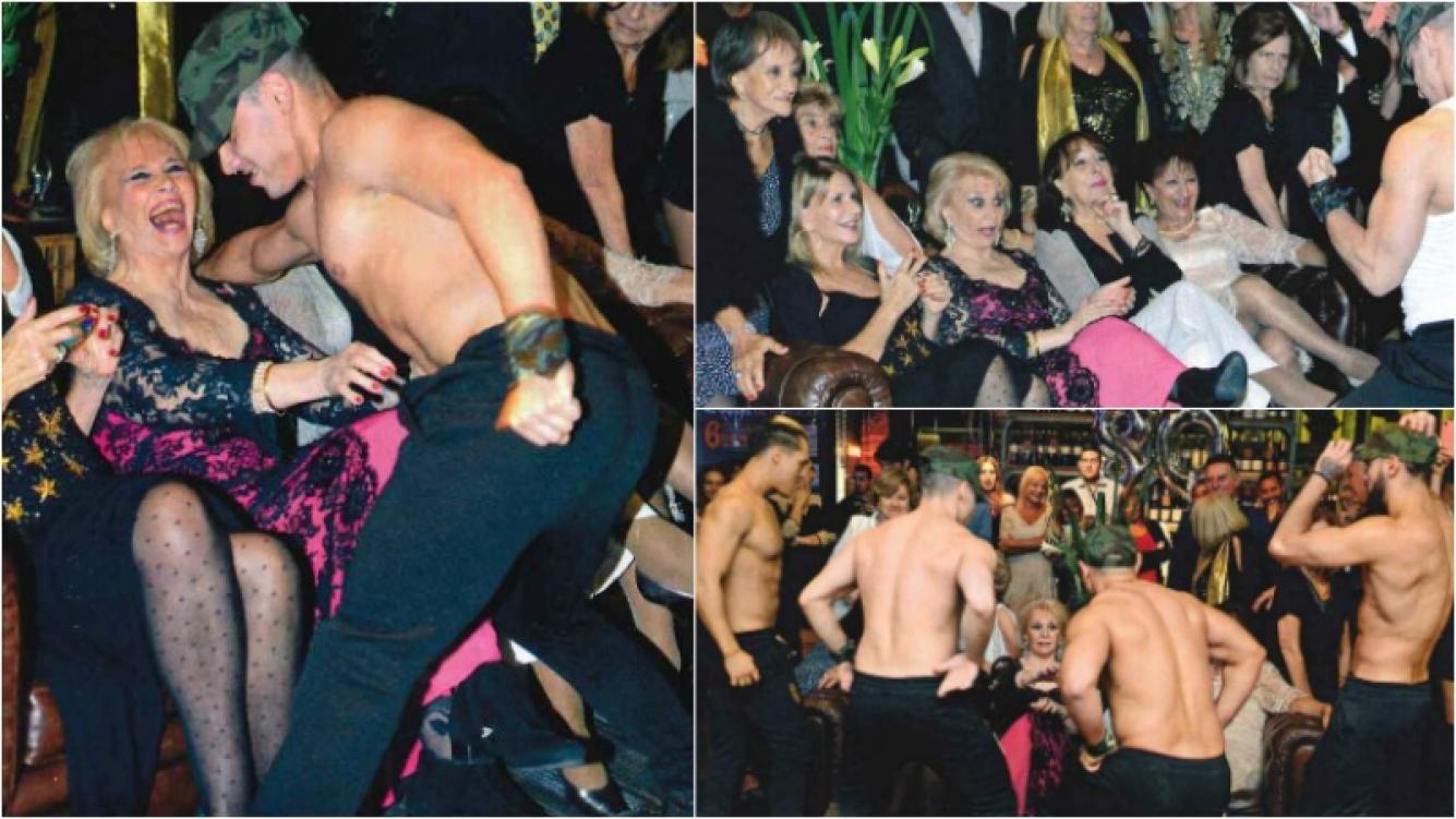 Marila, la madre de Fernando Burlando, recibió como regalo por sus 80 años el sensual baile de unos strippers. Foto: Revista Gente