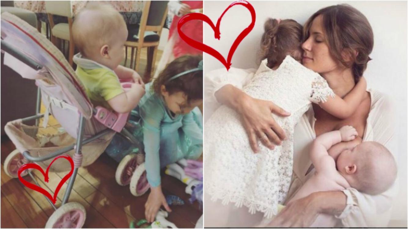 La foto súper tierna de Paula Chaves a Olivia jugando a la mamá con su hermanito. Foto: Instagram