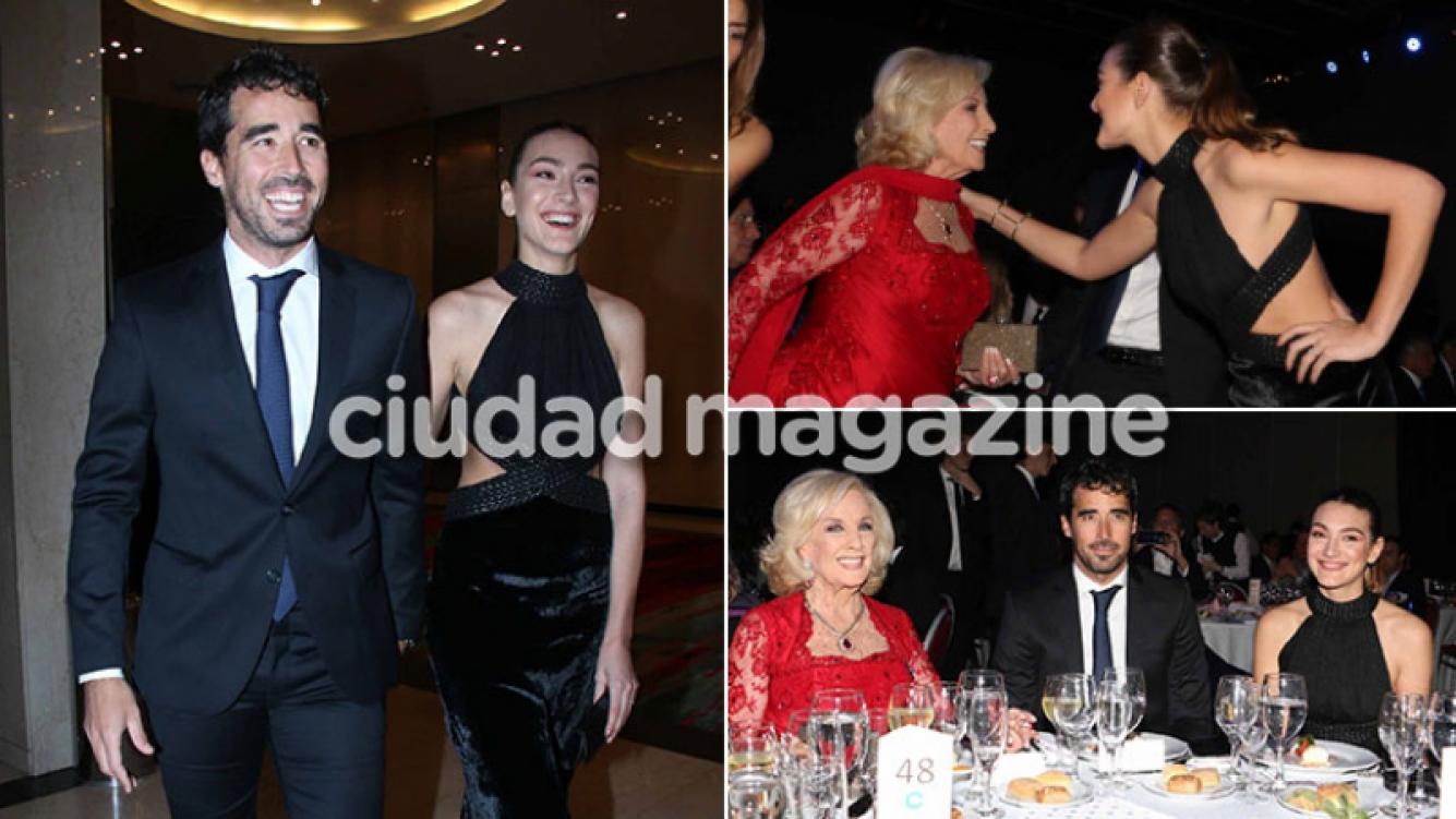 ¡Presentación oficial! Nacho Viale junto a su novia y Mirtha Legrand en una glamorosa cena de gala. (Foto: Movilpress)