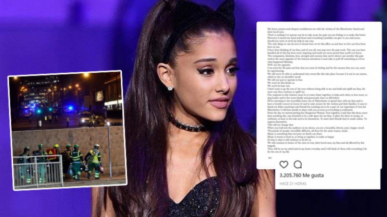 Ariana Grande y una conmovedora carta tras el atentado terrorista sufrido en Manchester
