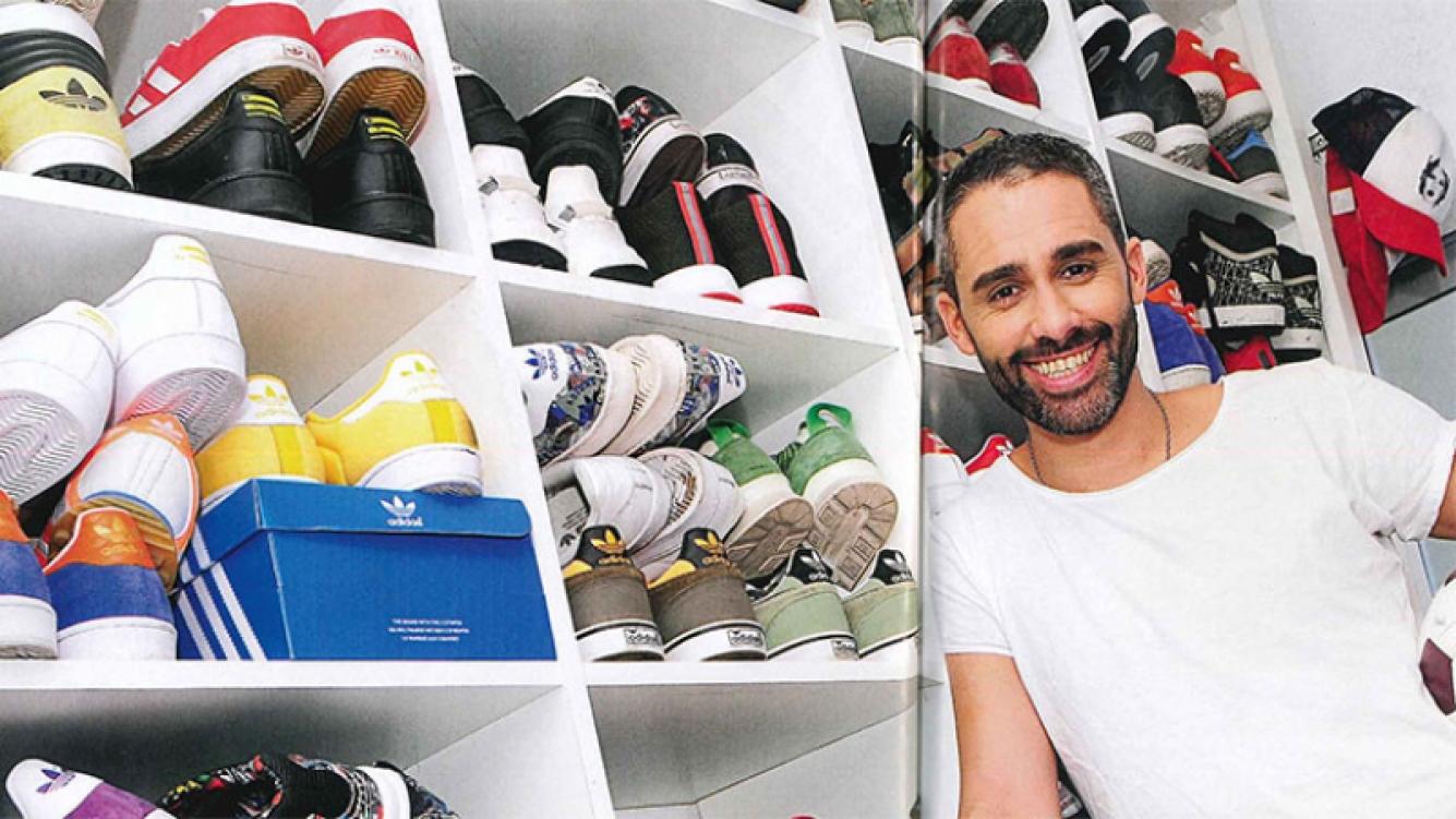 La imponente colección de zapatillas del Pollo Álvarez (Foto: revista Caras)
