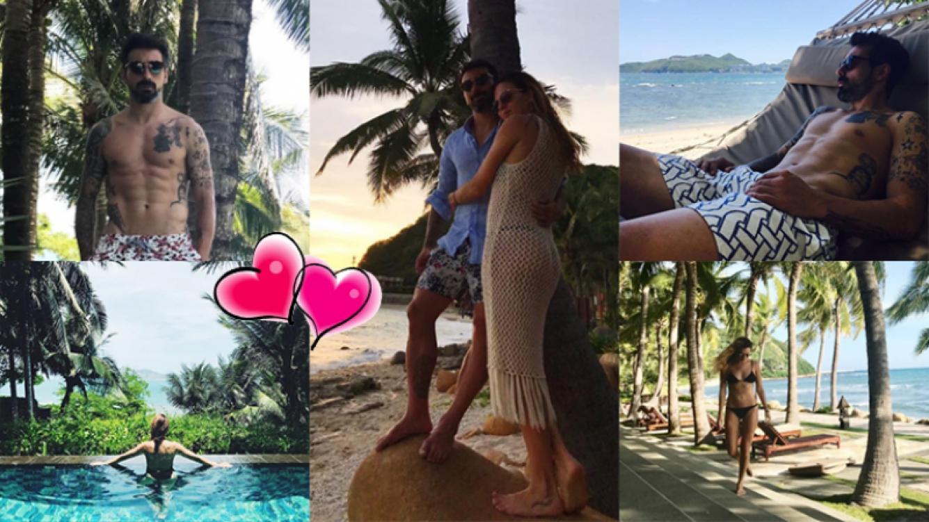 Pocho Lavezzi y Yanina Screpante, enamorados en China (Fotos: Instagram).