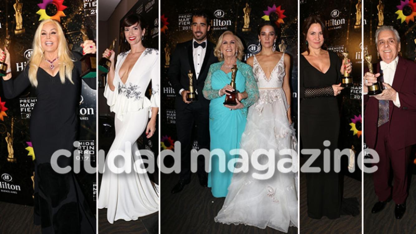 ¡Acá están, éstos son! Los grandes ganadores de la noche de los Martín Fierro 2017. (Foto: Movilpress)