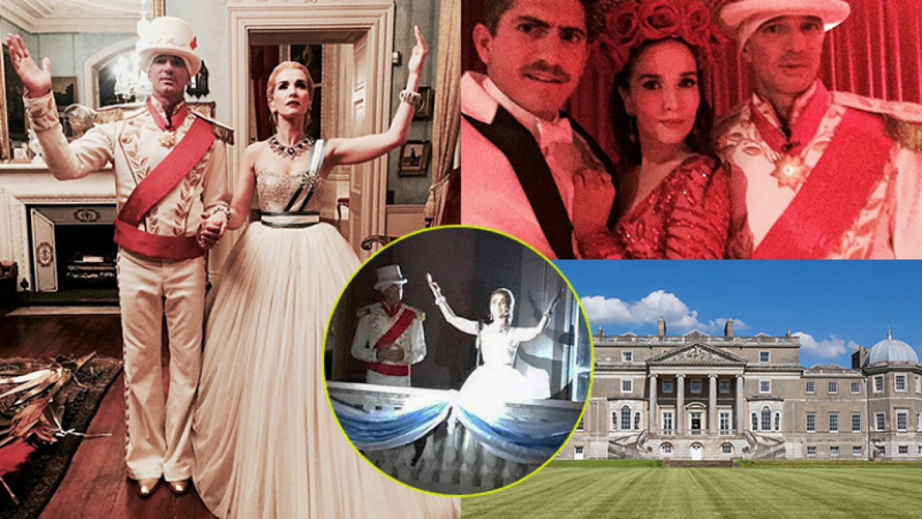 Natalia Oreiro, caracterizada como Evita en la fiesta del magnate ruso.