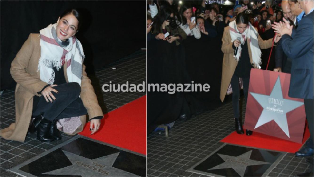 ¡Distinguida por su talento! La felicidad de Tini Stoessel al ser reconocida con una estrella en la calle Corrientes. Fotos: Movilpress