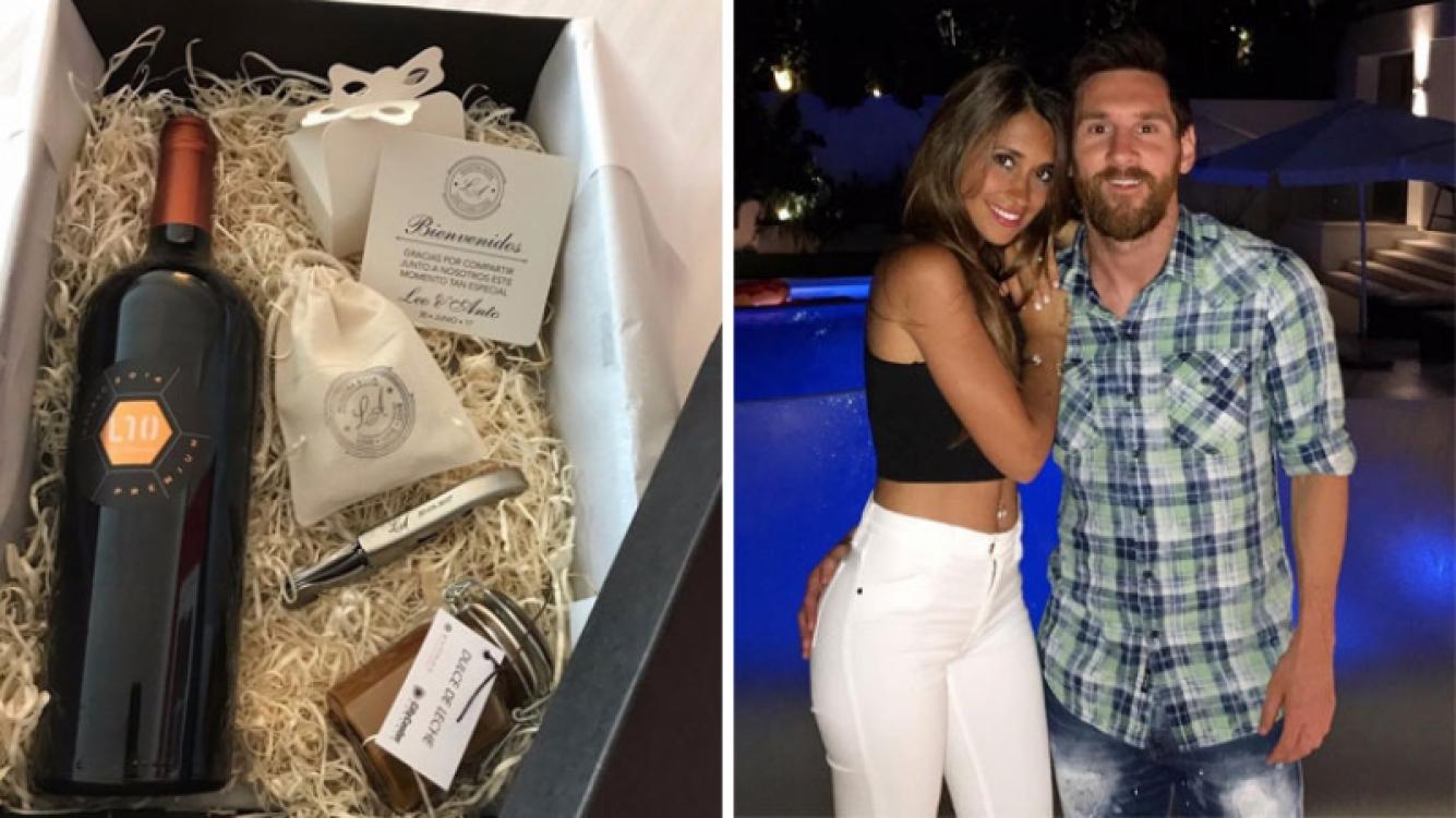 El souvenir de la boda de Lionel Messi y Antonela Roccuzzo. (Foto: Twitter e Instagram)