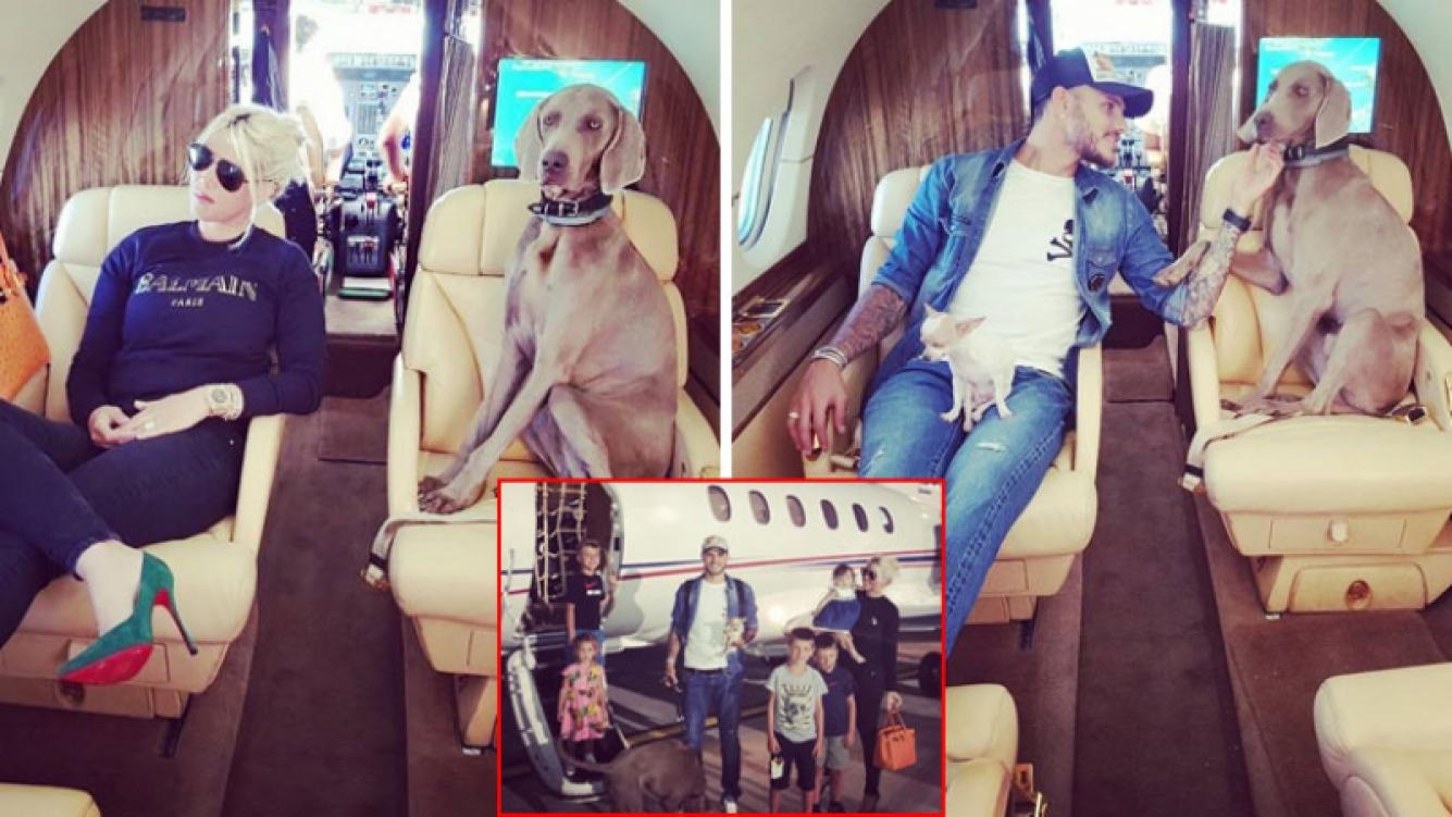 Wanda Nara y Mauro Icardi junto a Coco, el enorme perro que tienen de mascota.