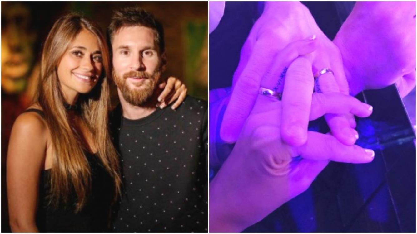 El significativo tatuaje debajo de las alianzas de Antonela Roccuzzo y Lionel Messi (Fotos: Instagram y Andrés Preumayr)