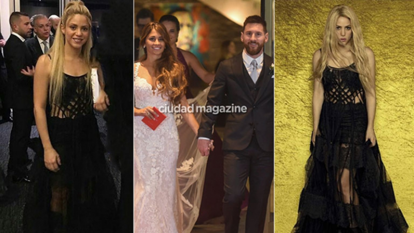 Shakira en el casamiento de Lionel Messi y Antonela Roccuzzo (Foto: Instagram y Web)
