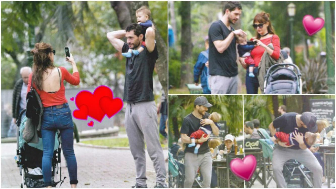 Celeste Cid y Michel Noher disfrutaron de un almuerzo junto al pequeño Antón, su bebé de 8 meses (Fotos: revista Gente)