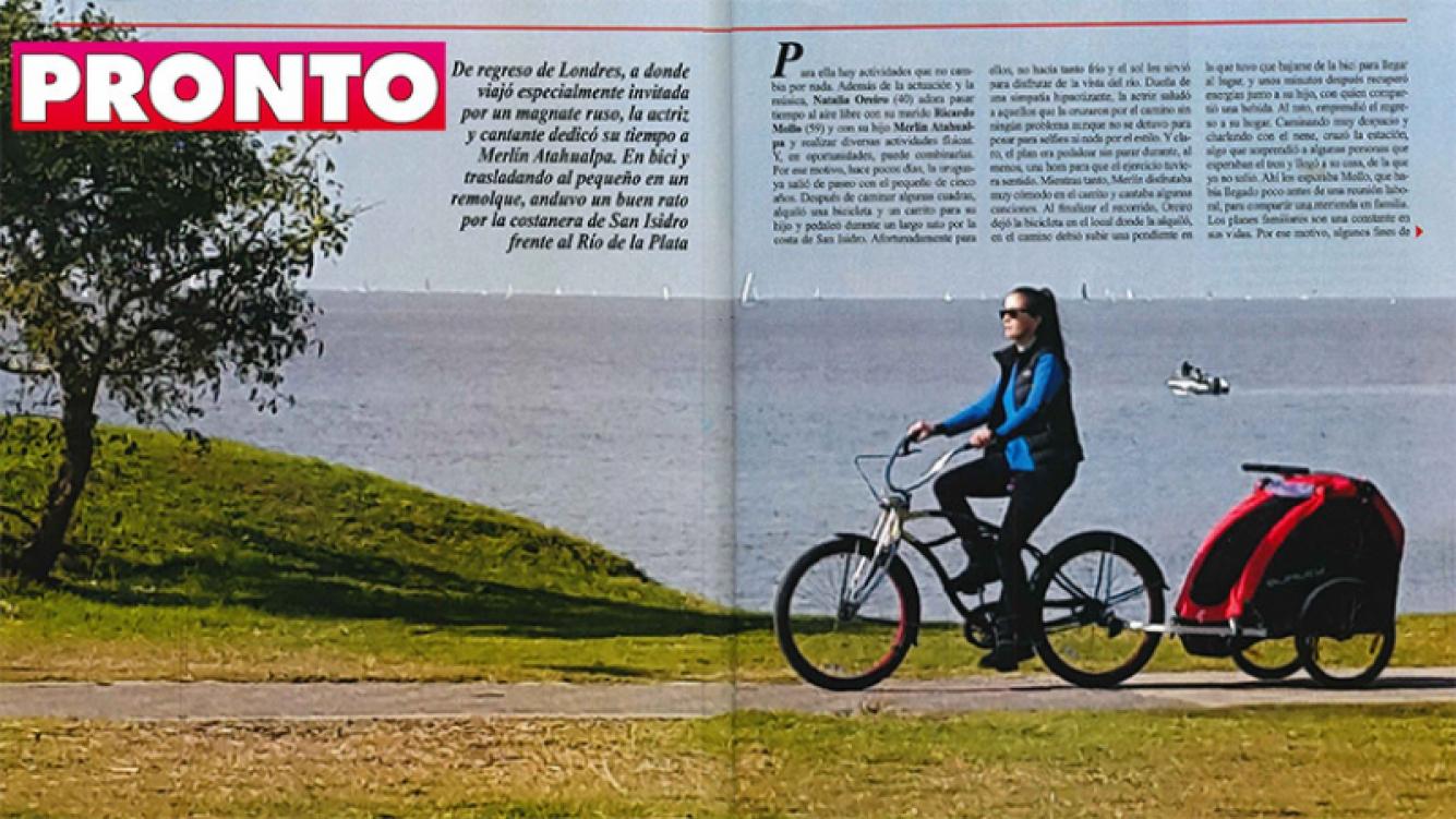 Natalia Oreiro paseó en bicicleta con carrito con Atahualpa. (Foto: revista Pronto)