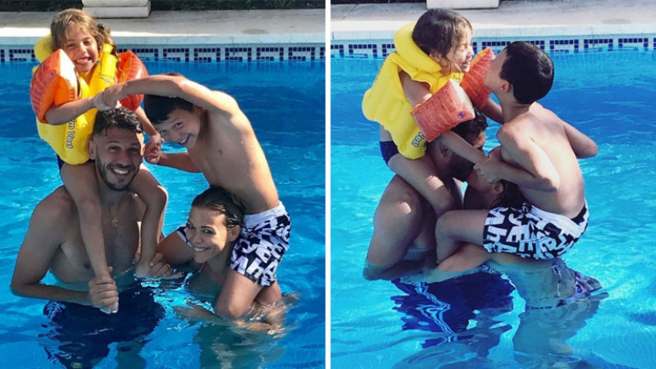 Evengelina Anderson y Martín Demichelis disfrutan de sus vacaciones con sus hijos. Foto: Instagram