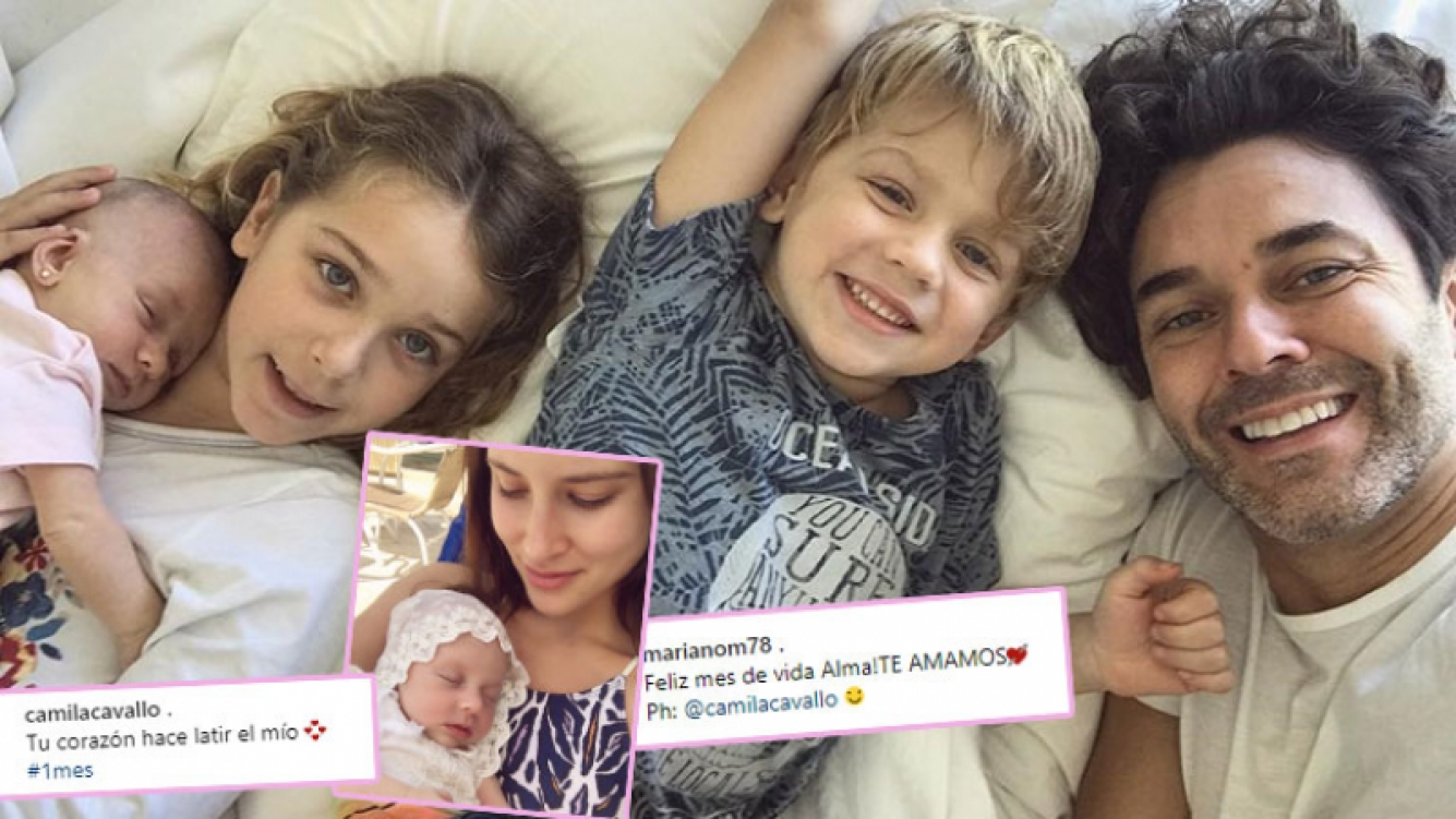 Mariano Martínez y Camila Cavallo junto a Alma, a un mes de su nacimiento (Foto: Instagram)