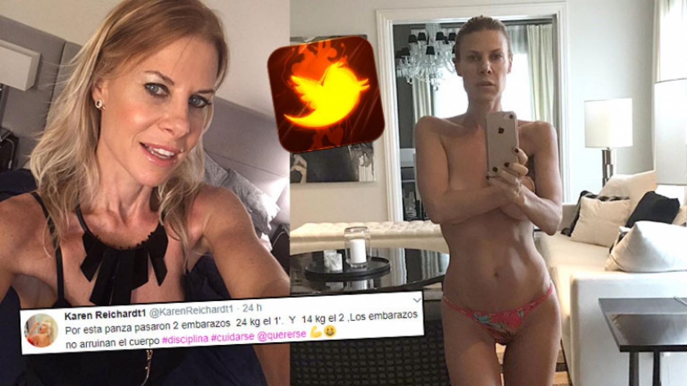 Karen Reichardt, diosa en topless a los 48 años