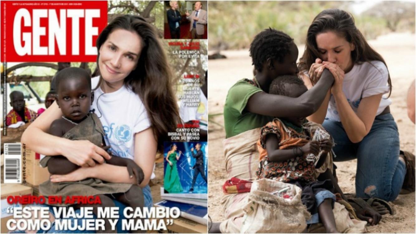 """Natalia Oreiro, tapa de la revista Gente, en un viaje transformador a Kenia: """"Un niño indefenso es eso en Nairobi o en Chaco; nadie es ajeno al dolor de un niño"""" Foto: Revista Gente"""