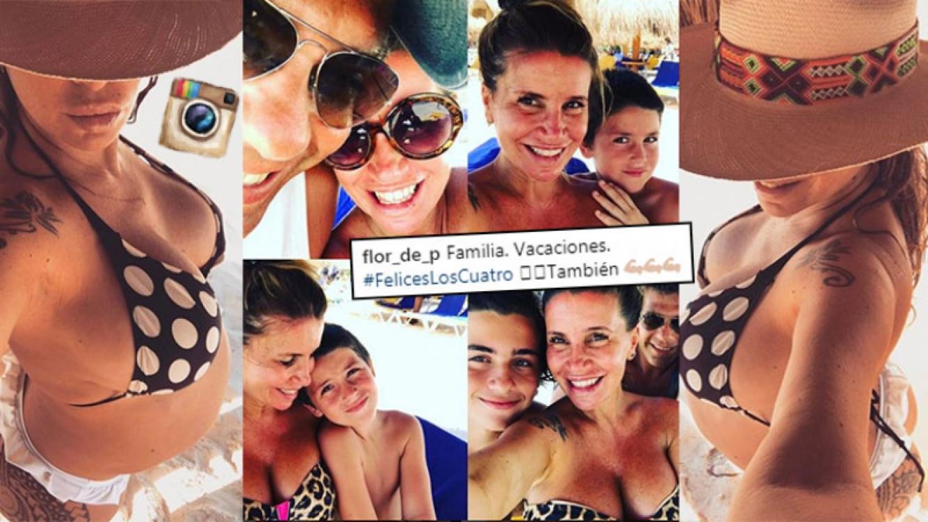 """¡Diosa embarazada! Flor Peña, pancita en bikini y vacaciones familiares en la playa: """"Felices los cuatro"""""""