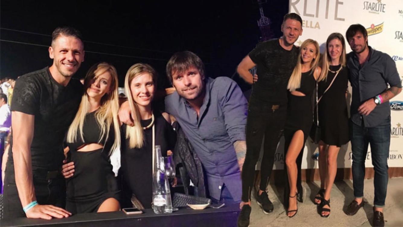 Demichelis, Eva Anderson, Sole Gaynor y Fer Cavenaghi fueron a ver a Sabina en Marbella. Foto: Instagram