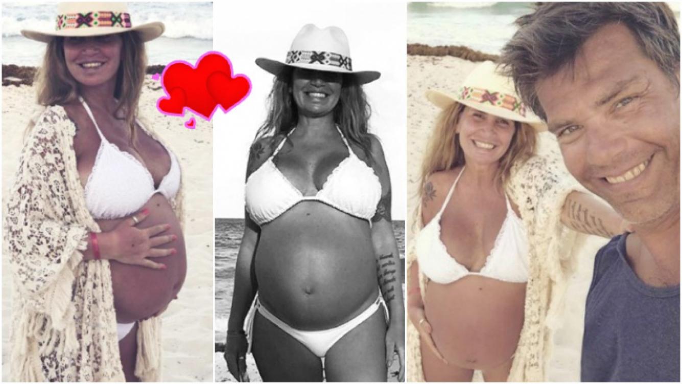 Las dulces postales de Florencia Peña en bikini, luciendo su enorme panza en las vacaciones familiares (Fotos: Instagram)