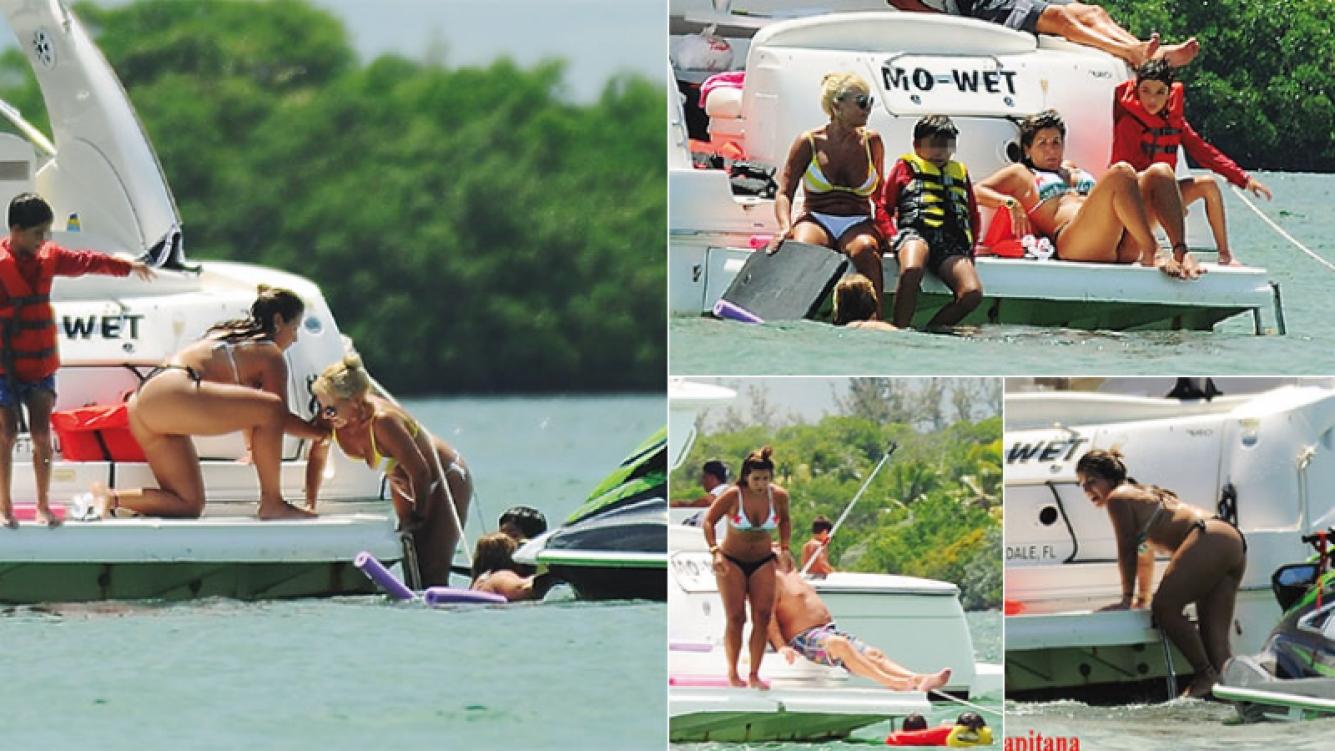 Gianinna Maradona, junto a Claudia Villafañe y Benjamín Agüero en Miami (Fotos: revista Pronto)