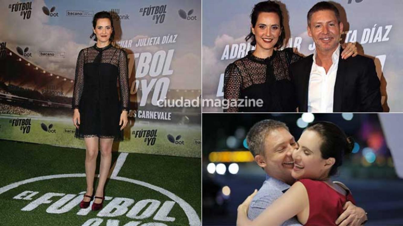 Julieta Díaz, protagonista de El fútbol o yo junto a Adrián Suar. Fotos: Movilpress y web.