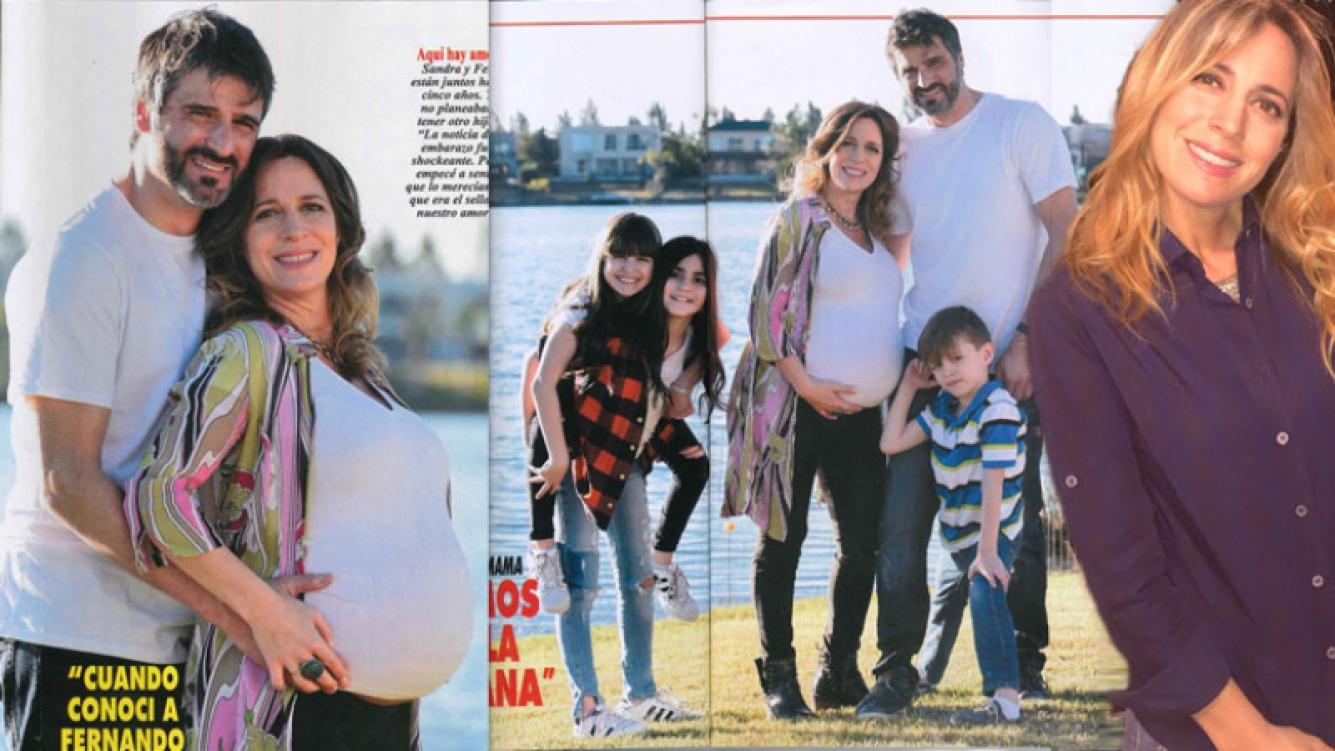 La felicidad de Sandra Borghi con su familia ensamblada, a un mes de ser mamá. (Foto: revista Pronto y Twitter)