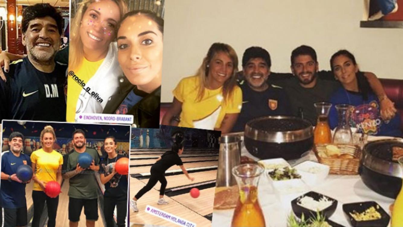 Maradona y Rocío Oliva, cena y bowling. Fotos: Instagram.