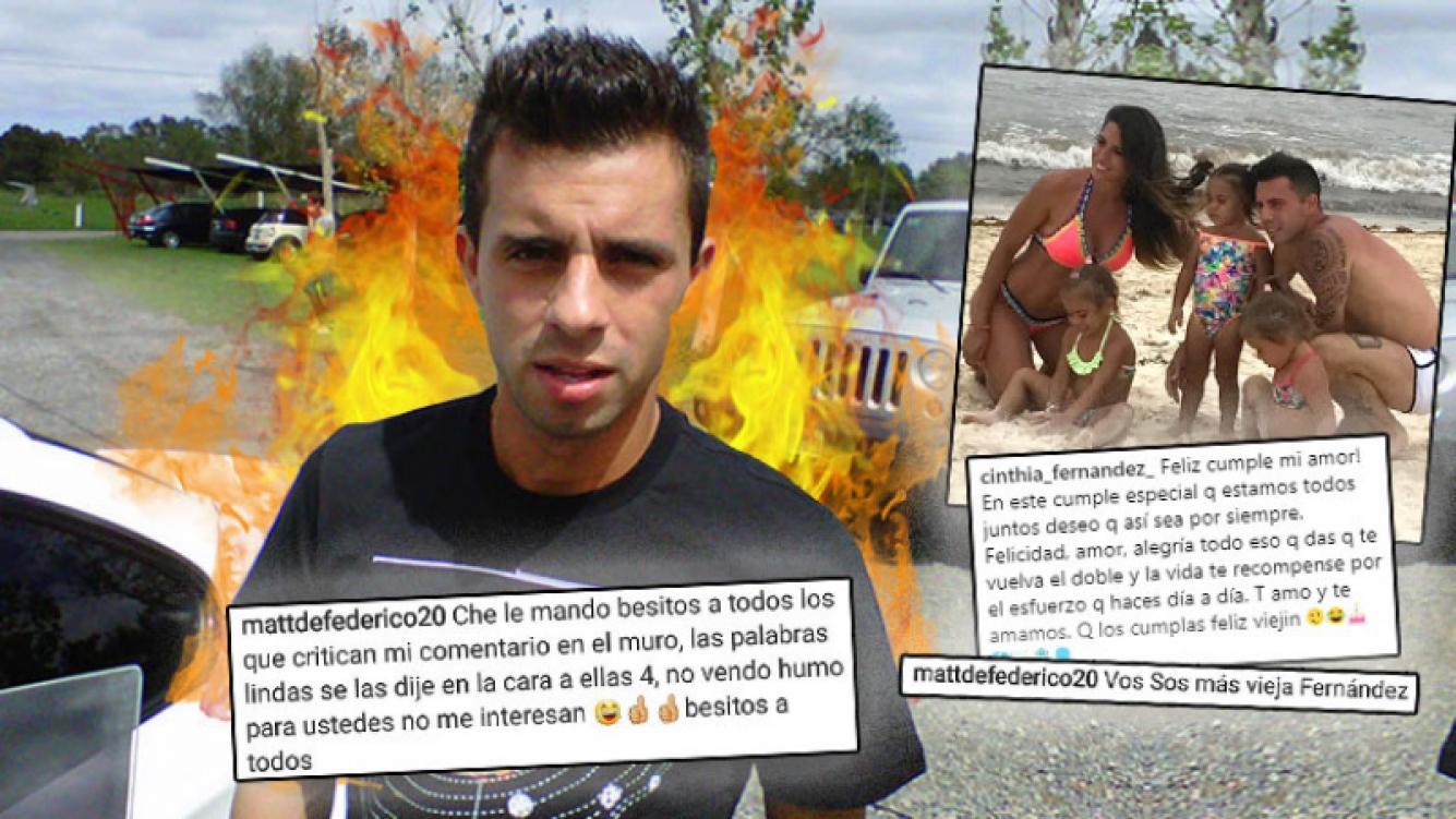"""Picante respuesta de Dedeferico, tras las críticas de los seguidores de Cinthia Fernández: """"Ustedes no..."""""""