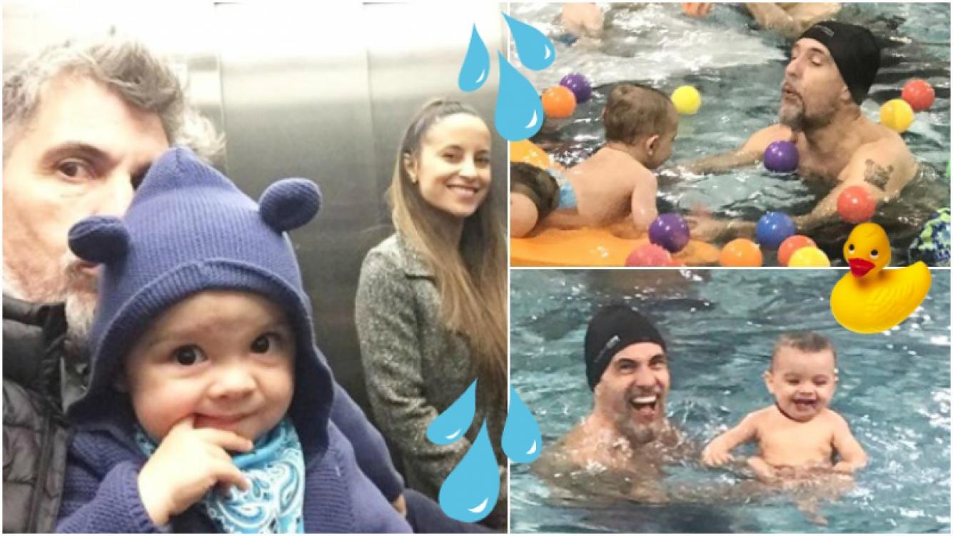 Las fotos y videos del hijo del Chato Prada y Lourdes Sánchez en sus primeras clases de natación (Fotos: Instagram)