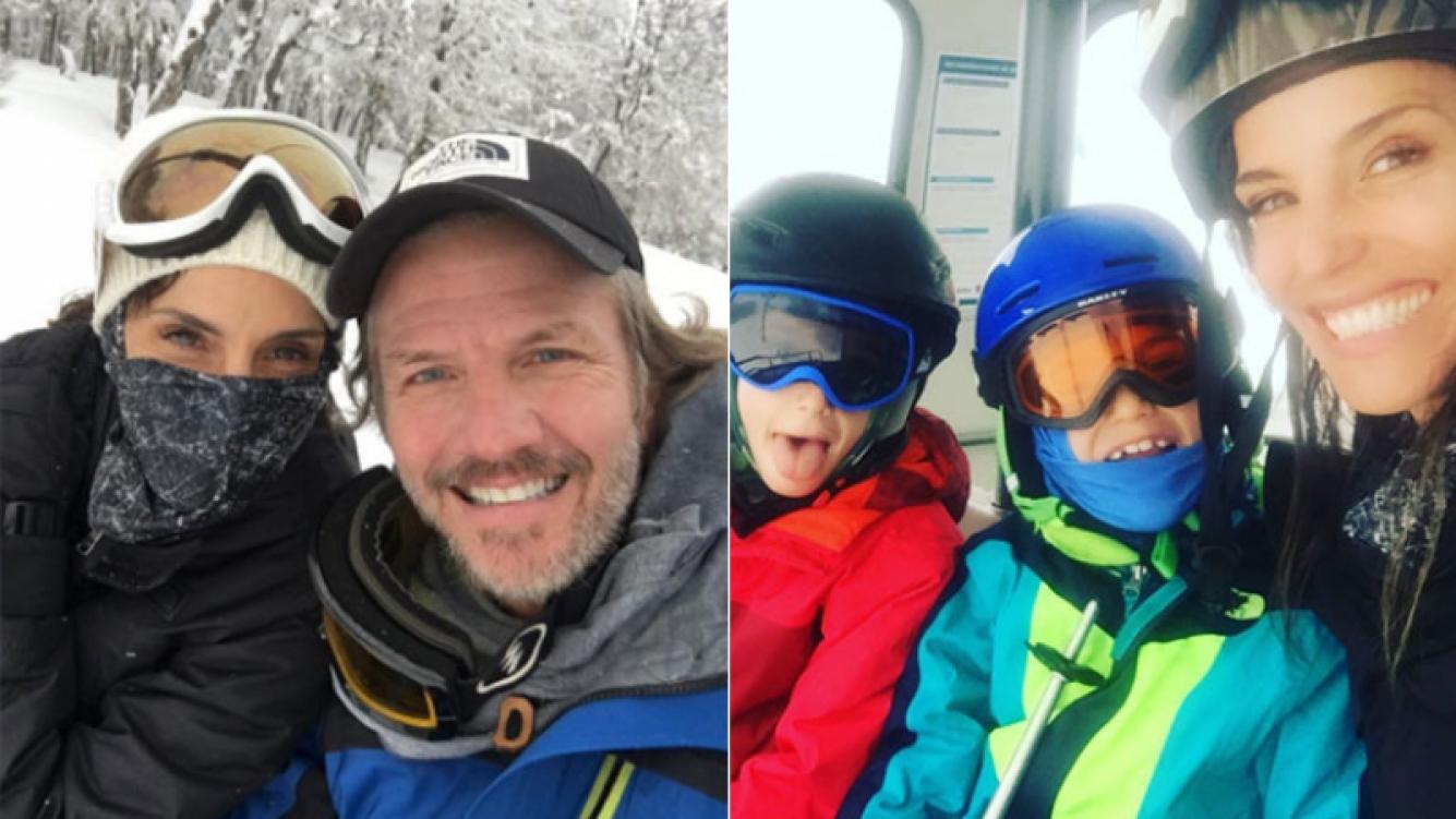 Facundo Arana y María Susini, de vacaciones con sus hijos en la nieve