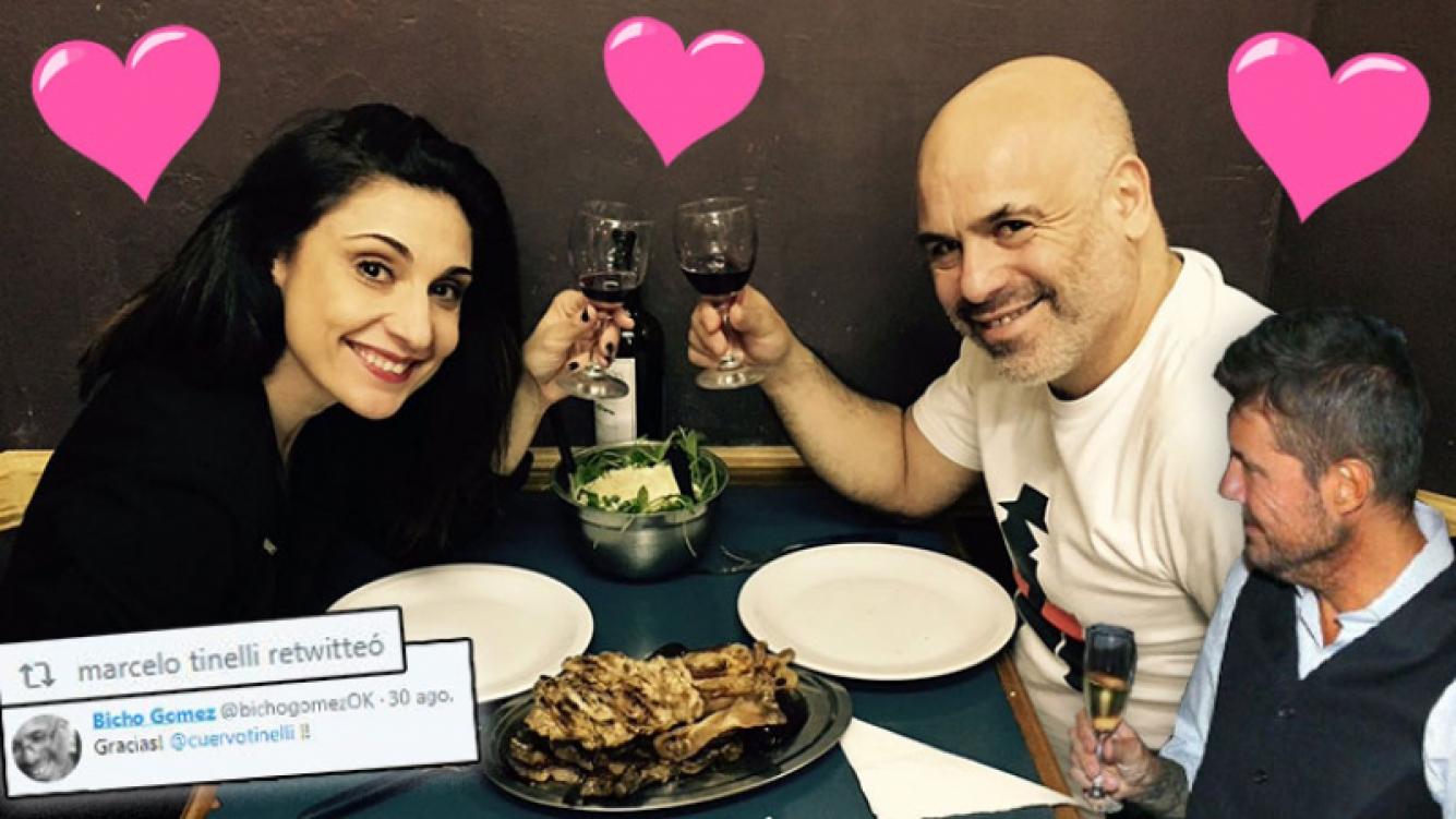¡Romance popular! El Bicho Goméz y Verónica Pecollo, romántica cena anti-gourmet para celebrar los tres años de amor.