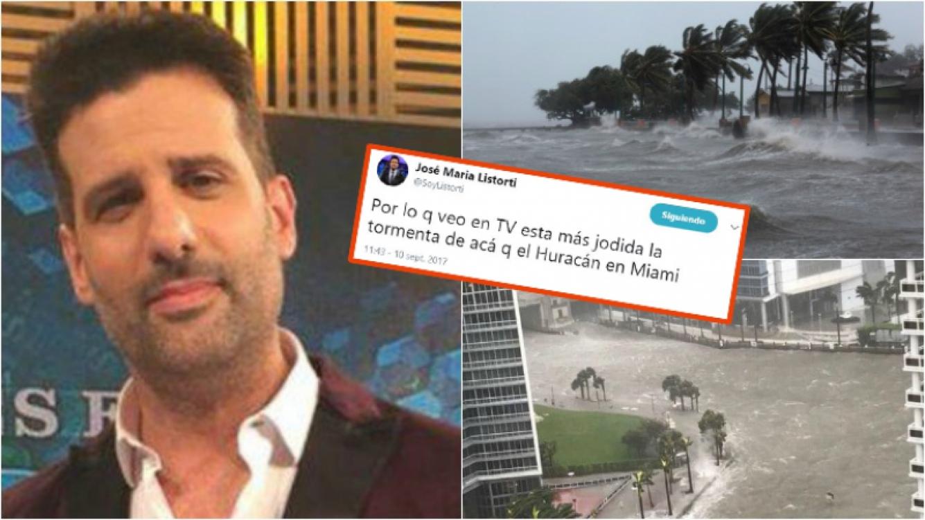 La desafortunada frase de José María Listorti por el huracán Irma que molestó en Twitter.