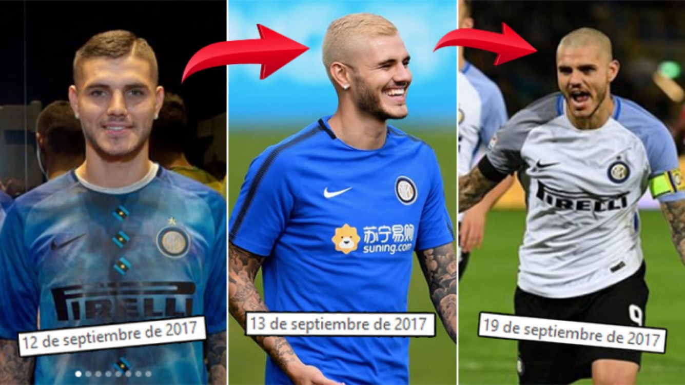 ¡Tres looks en una semana! Mauro Icardi, de castaño a platinado… ¡y pelado!