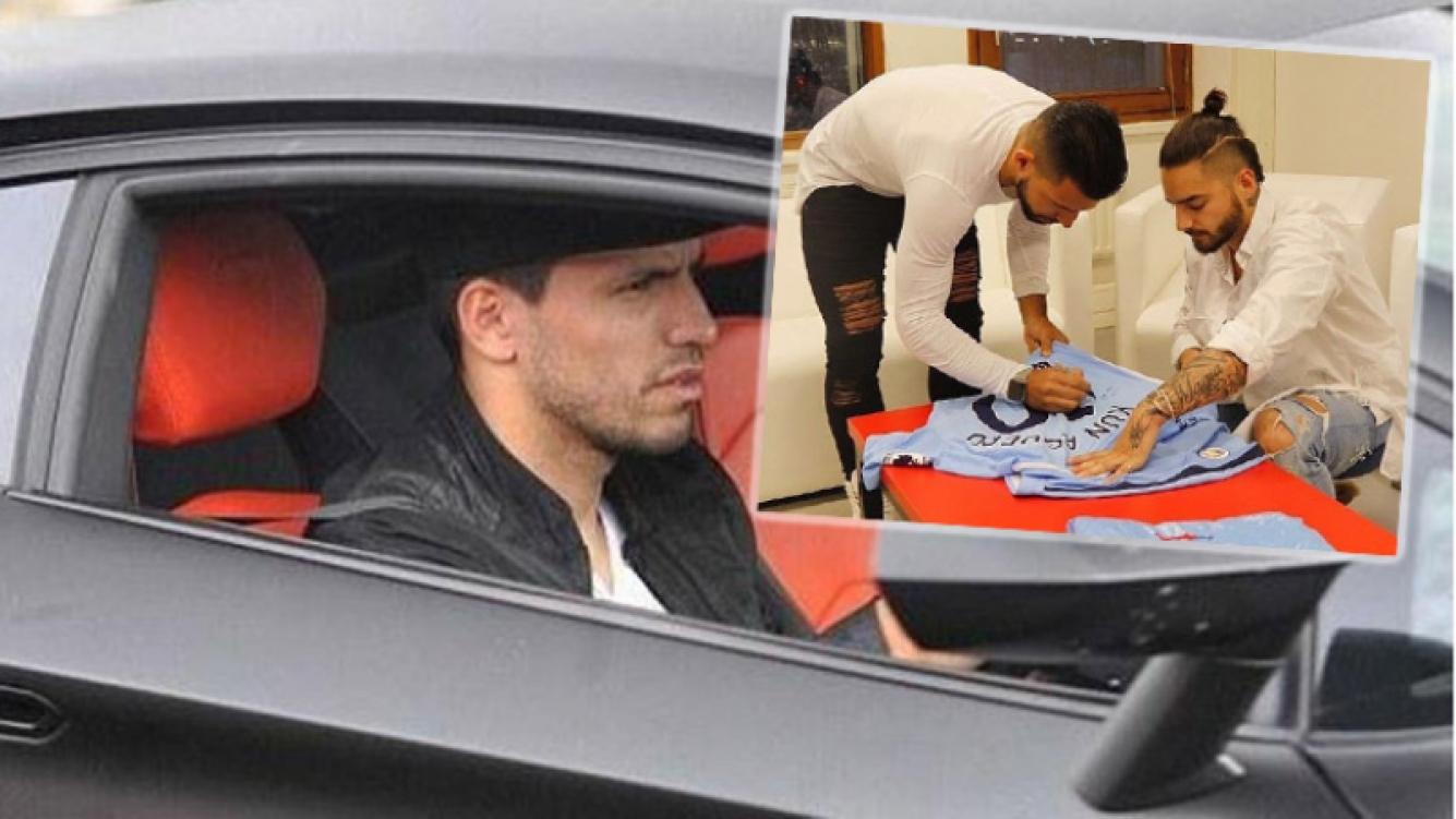 El Kun Agüero volvía en taxi cuando sufrió el accidente. Antes le había firmado una camiseta suya a Maluma. Fotos: Instagram y Web.