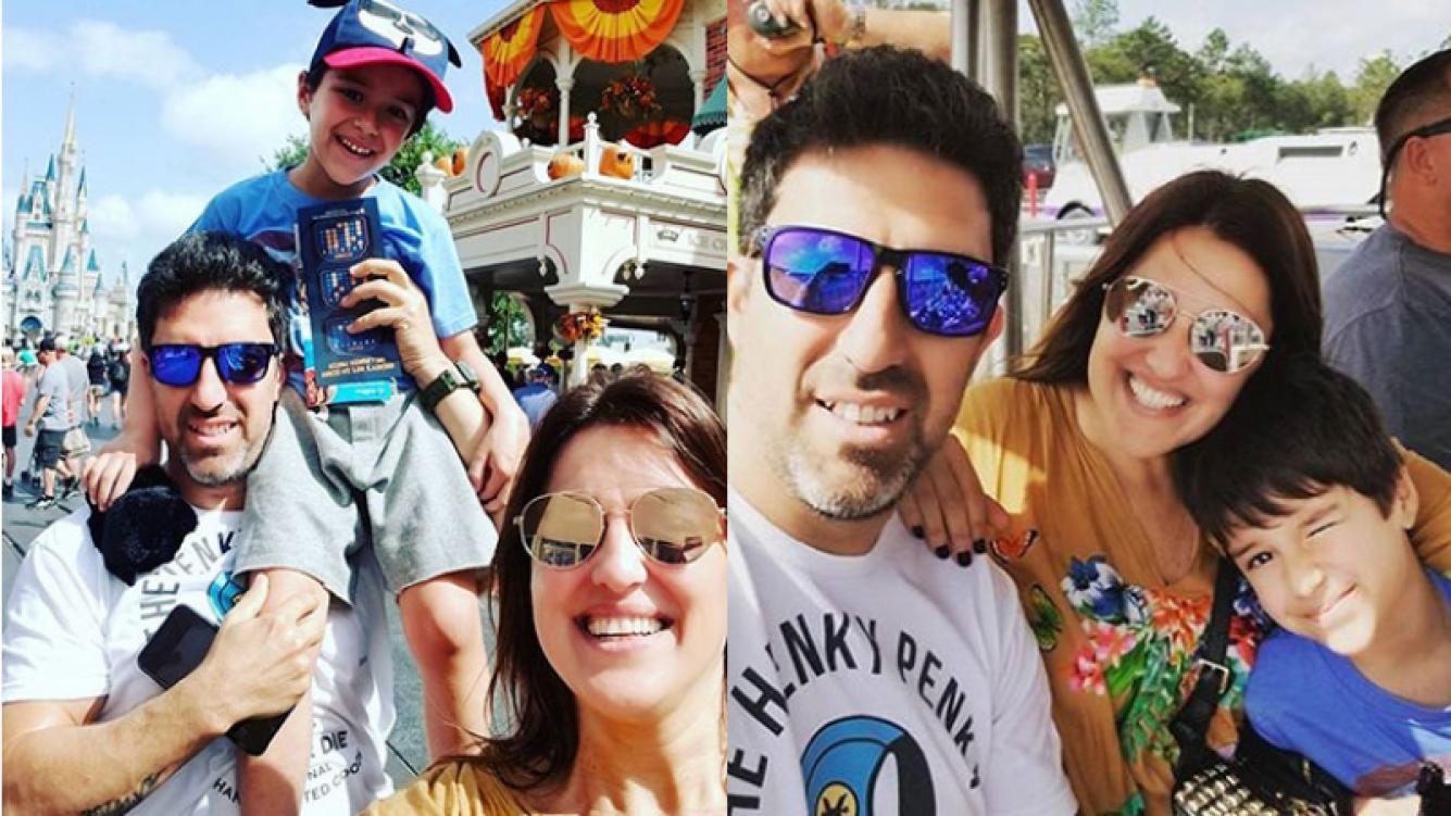 Maju Lozano y Julián Varde, juntos con su hijo en Disney (Fotos: Instagram).
