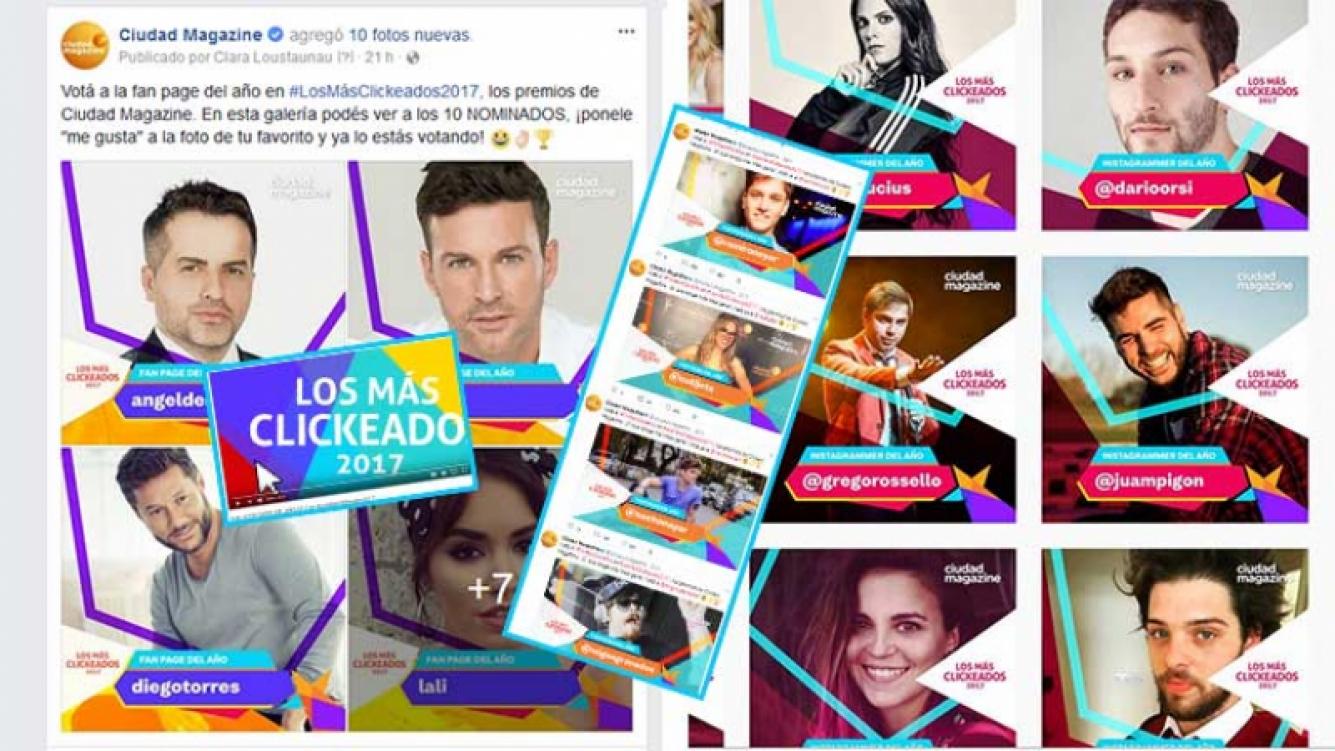 ¡Votá en nuestras redes sociales a #LosMásClickeados2017!