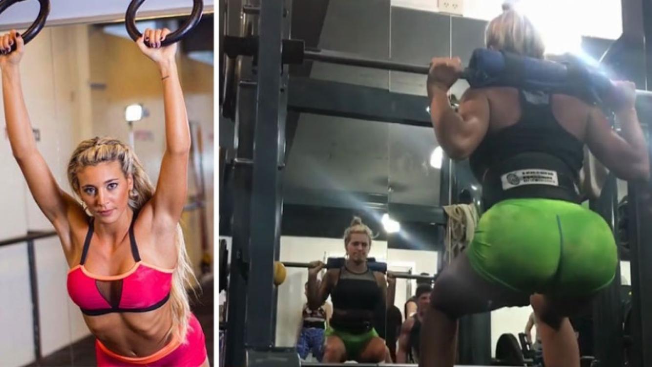 El duro entrenamiento de Sol Pérez para mantener su lomazo: Estocadas de 90 kilos; pueden ver el peso, ya que muchos...